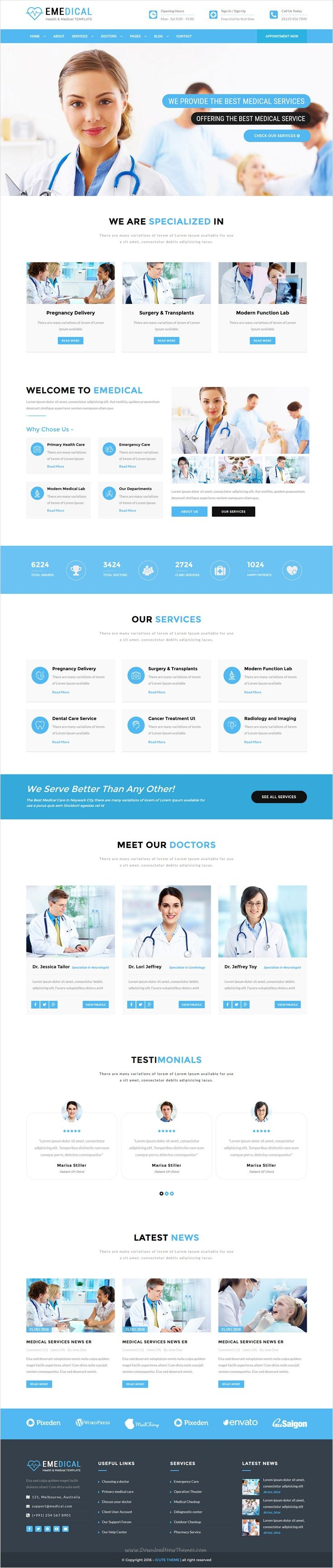 eMedical is a fully responsive 2 in 1 Bootstrap #HTML5 template for Health, #clinics and #Medical organizations website download now➩ https://themeforest.net/item/emedical-health-medical-respnsive-html5-template/18409189?ref=Datasata