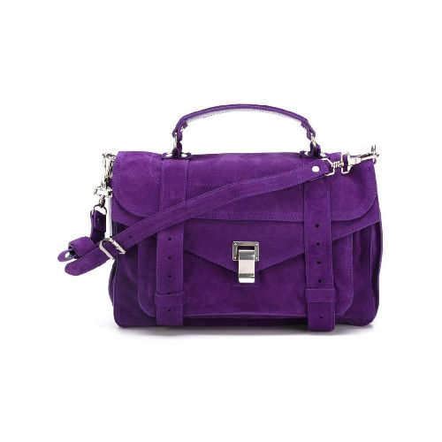 Purple suede medium 'PS1' satchel from Proenza Schouler featuring a top handle, a foldover top with flip-lock closure, a detachable and adjustable shoulder strap, silver-tone hardware, a back zip pocket and an internal zipped pocket. Size: OS. Color: Pink/purple. Gender: Female. Material: Calf Suede/Polyamide/Polyester.
