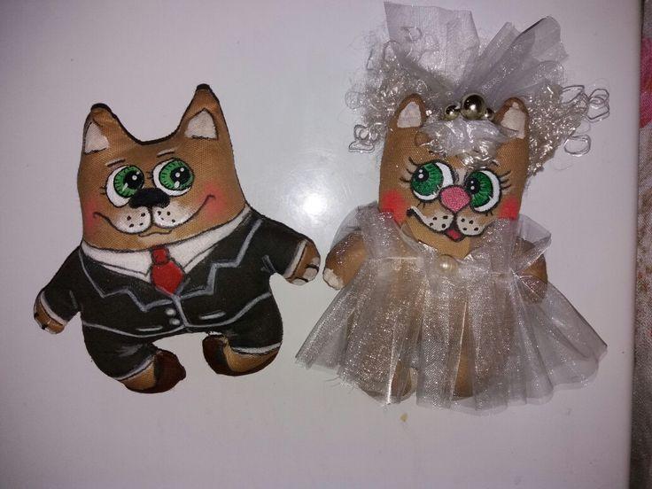 """Кофейные котики (магнитики на холодильник"""" Свадебная парочка"""""""