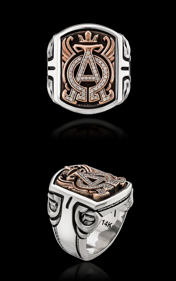 """NightRider Jewelry """"Archetype"""" Ring   Jawbone Collection  In 925 Sterling Silver, Rose Gold, and Diamonds   Custom Made-To-Order Men's Ring   Alpha Omega Ring"""