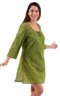 Spirituelle Maata Cotton Kaftan Dress and Beach Cover up Abstract Olive