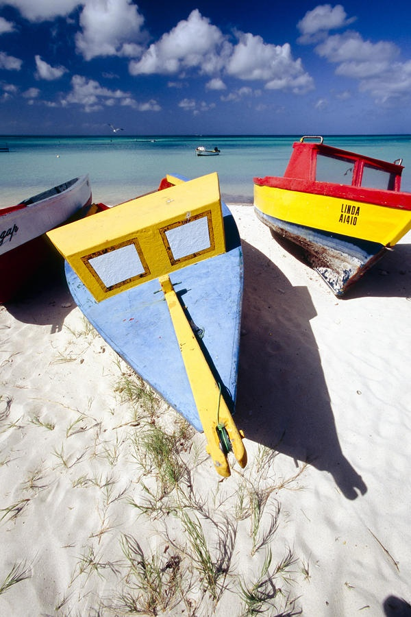 Colorful Boats on  Eagle Beach  Aruba | View Aruba Vacation Packages!