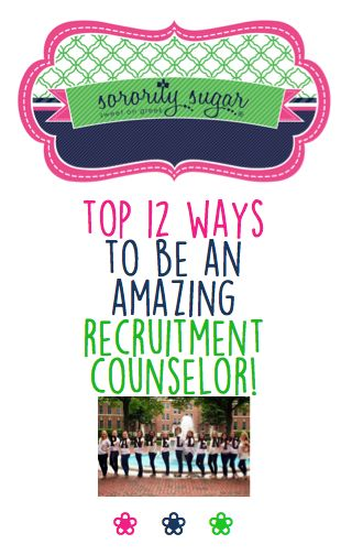Being a Recruitment Counselor (RC) • Rho Gamma • Gamma Chi is an honor! The position gives you terrific opportunity to help PNMs who are nervous about the whole rush experience. Here are some sorority sugar top tips for doing a great job! <3 BLOG LINK: http://sororitysugar.tumblr.com/post/118477746054/top-12-ways-to-be-an-amazing-recruitment#notes