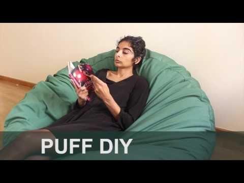 Do it yourself: Cómo hacer un puff de tela para el salón - YouTube