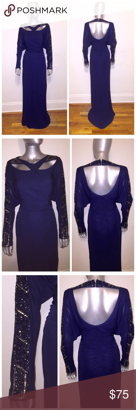 Kay Unger Embellished Gown with Cut Outs Kay Unger Embellished Gown in Navy Blue, embellished with stones and sequins, cut outs in front and back of dress, concealed back zip closure, lined, long sleeve, back lower rouging and this dress is stunning on! New with tags attached. Kay Unger Dresses Long Sleeve