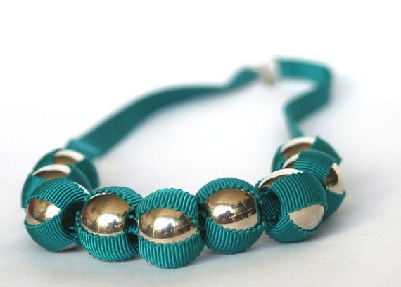 Teal grosgrain ribbon and silver bead necklace