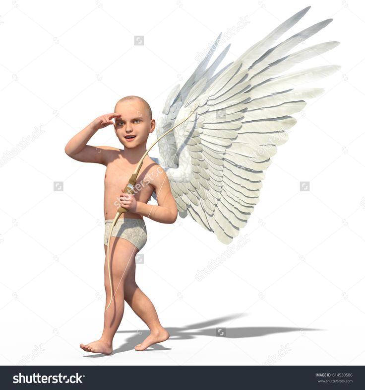 3d render of a cute walking cupid looking for his target
