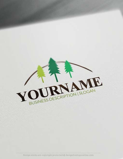Make a logo with our Free Logo Maker -Forest tree Logo design Readymade Forest tree Logo design with three woodland Cypress trees. Forest logos is suitable for branding any product that has wood,Forest Guest House,carpentry shop, Carpenter, wooden art, furniture storeetc    How to createalogo online with our free logo make? 1- Customize This logo with our free