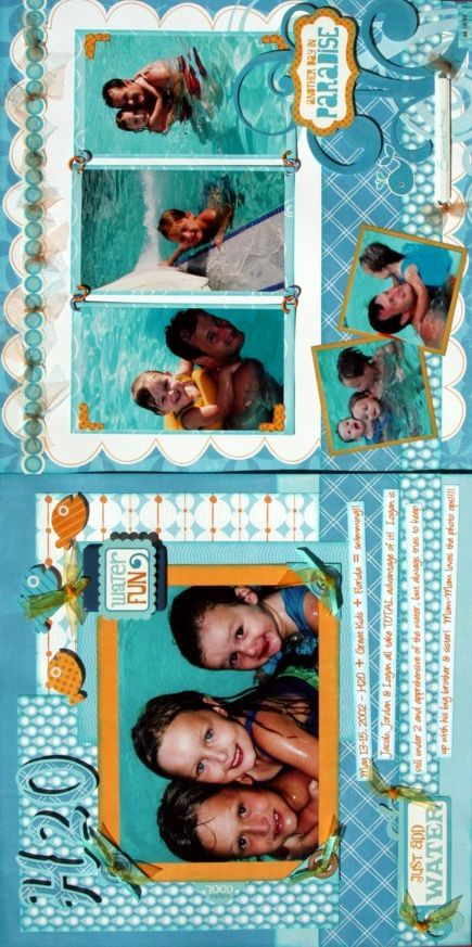 Summer Scrapbook Layouts   photo layout -- hmm not only 6 photos on a great dbl page layout but ...