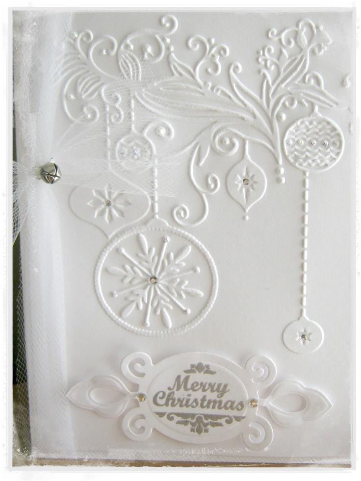 Kaszazz Card Making Ideas Part - 45: White Embossed Christmas Card