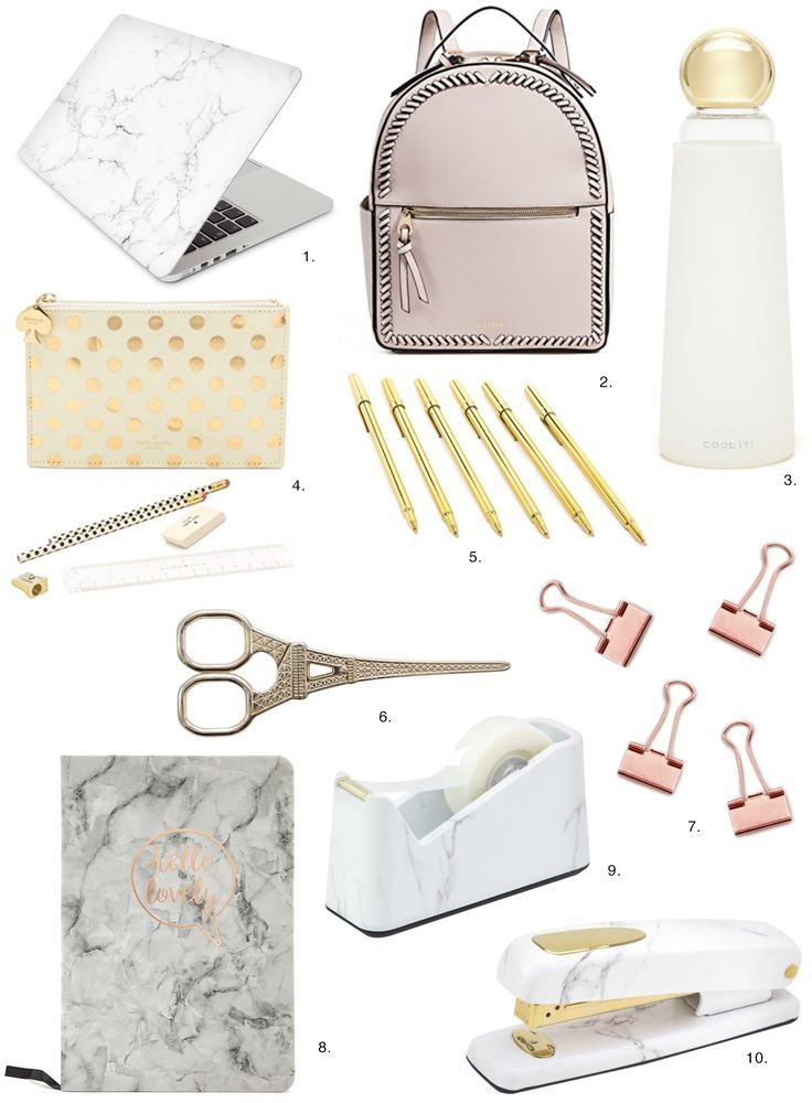 Unique Back to School Supplies in Marble & Gold – Opis Flores – Accesorios