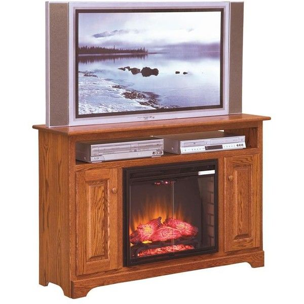 """Amish Islington 51"""" Electric Fireplace TV Stand ($1,358) ❤ liked on Polyvore featuring home, furniture, storage & shelves, entertainment units, tv display stand, brown's furniture, hand made furniture, handmade furniture and amish handmade furniture"""