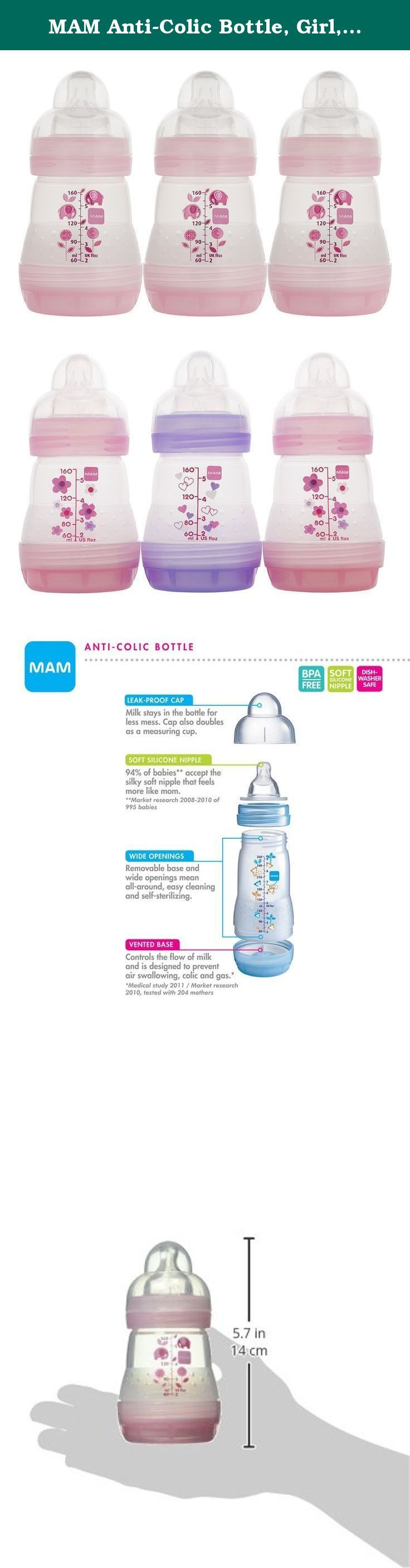 MAM Anti-Colic Bottle, Girl, 5 Ounces, 3-Count. The MAM Ulti vent wide mouth transition bottle system is designed to be as close to breast feeding as possible in a reusable bottle. All MAM Bottles are constructed of Bisphenol A free materials. The orthodontic nipple is made of ultra soft silicone and encourages baby to use a natural suckling action similar to breast feeding. The Ulti vent valve is sensitive enough to ensure baby a constant, air free flow of liquid. The removable bottom…
