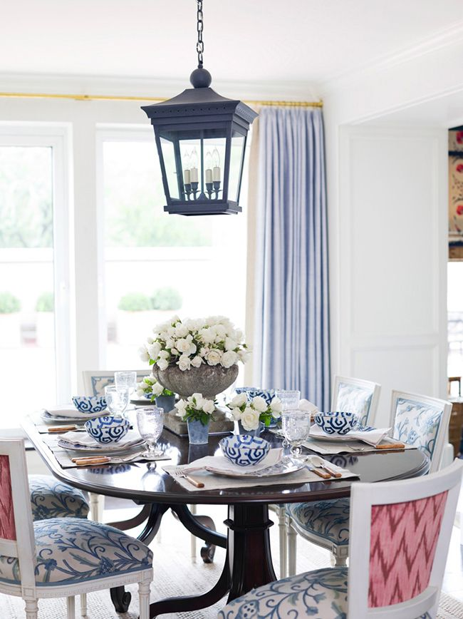 Gorgeous navy pink and light blue dining room design by for Navy blue dining room ideas