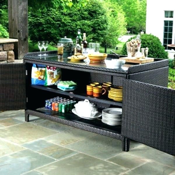 Patio Storage Table Outdoor Buffet With Cabinets End Furniture
