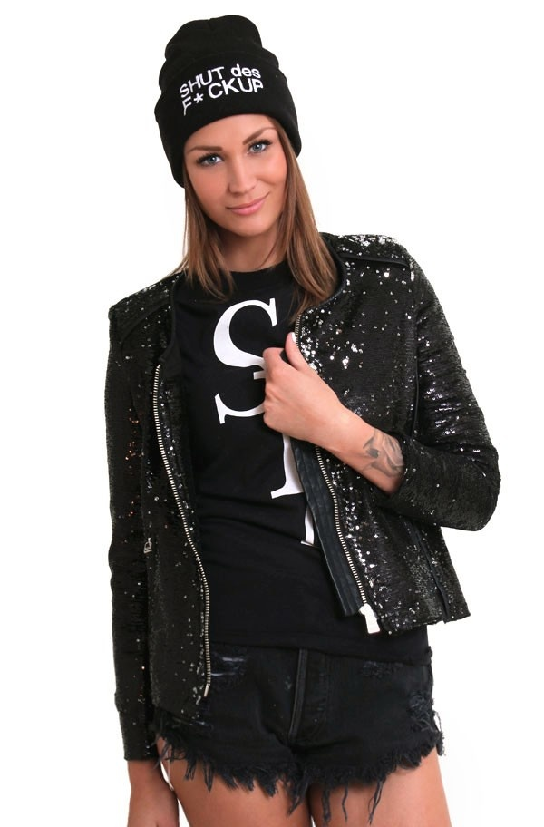 NEVER NAKED - Sequin Blazer Black
