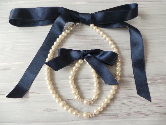 Flower girl jewelry set pearl necklace bracelet set NAVY BLUE satin ribbon wedding gift junior bridesmaid pearl bracelet wedding party