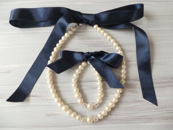 Flower girl jewelry set pearl necklace bracelet set NAVY BLUE satin ribbon wedding gift junior bridesmaid pearl bracelet wedding party on Etsy, $19.00