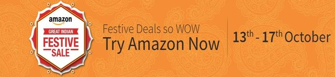 This #Diwali #Festival #Amazon comes again with Great #India Festive #Sale & Get lots of discount offer & cashback on top branded product. Sale from 13th - 17th Oct 2015.