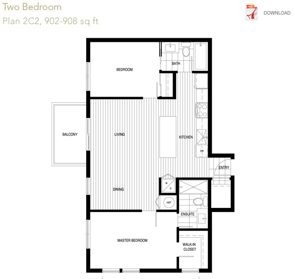 Bloom CONDO: 2 bedroom  Plan 2C2  902 to 908 sqft