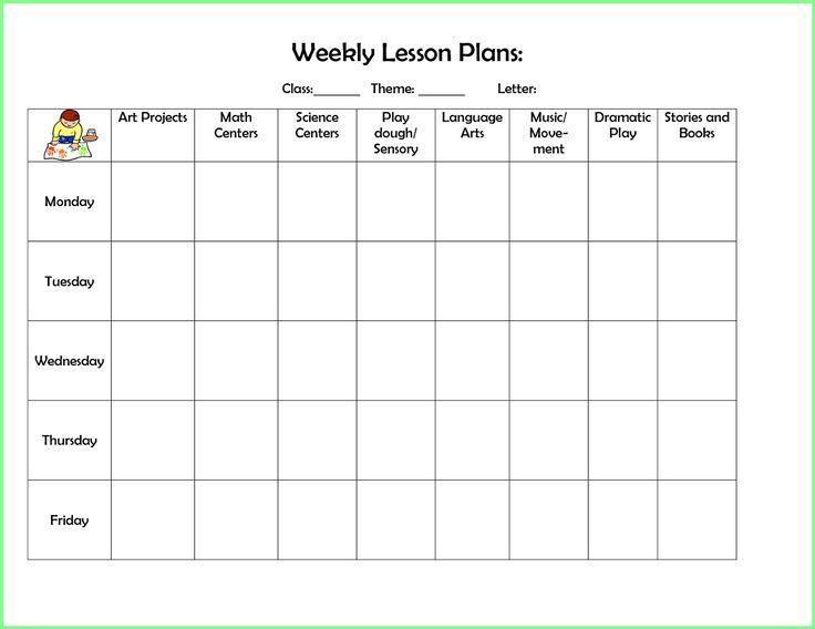free preschool lesson plan template
