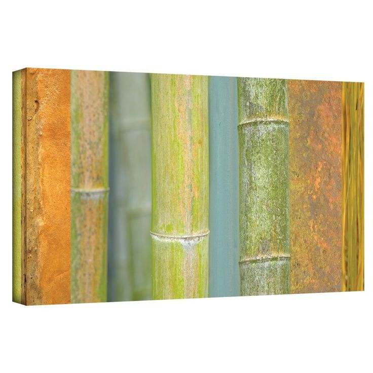 ArtWall 'Bamboo Green Orange' by Cora Niele Painting Print on Wrapped Canvas