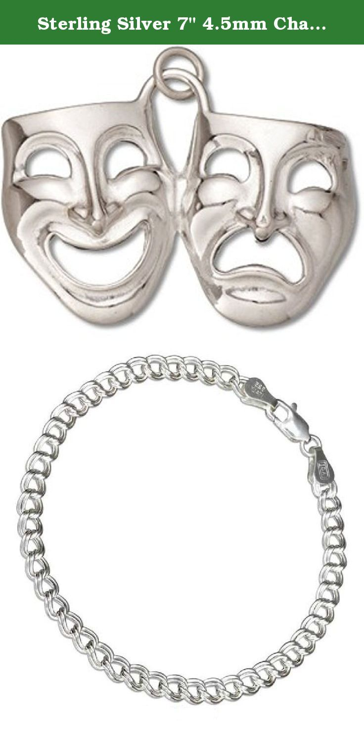 "Sterling Silver 7"" 4.5mm Charm Bracelet With Attached 3D Comedy And Tragedy Theater Actor Mask Charm. Sterling Silver 7"" 4.5mm Italian Made Charm Bracelet With Attached 3D Comedy And Tragedy Theater Actor Mask Charm. Great Charm For Anyone Who Is In Theater Arts Or Broadway Plays. Material: .925 Sterling Silver Dimensions: 3D Charm Height: 7/8"" Length: 11/8"" Width (Thickness): 1/8"" Units Sold By: Single SKU#: A37772T-BR452 All Measurements Are Approximate ."