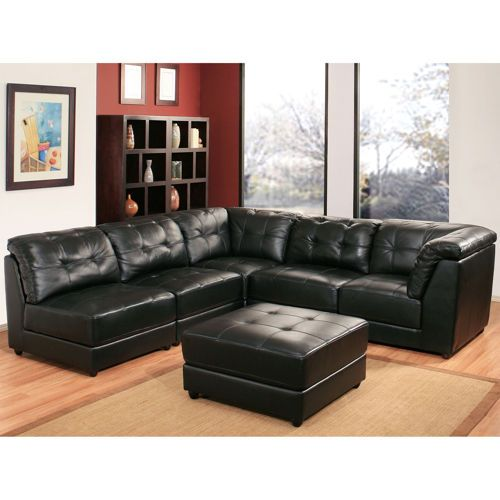 Erica 6 Piece Top Grain Leather Modular Sectional Black