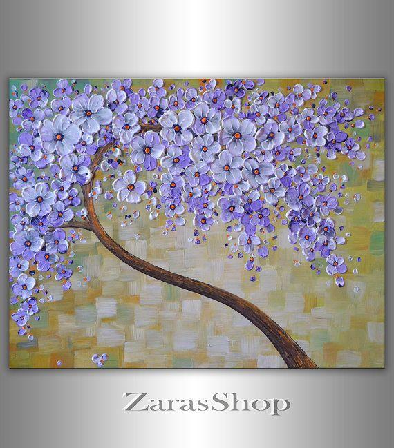 Original Fine Art contemporain, floraison peinture arbre blanc lavande, regard neuf cadeau d