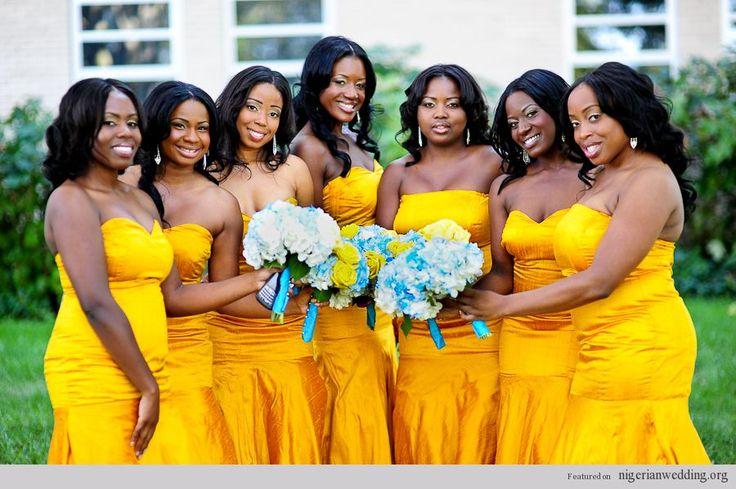 Golden Colour Wedding Gowns: Nigerian Wedding Yellow Bridesmaids Dresses S67
