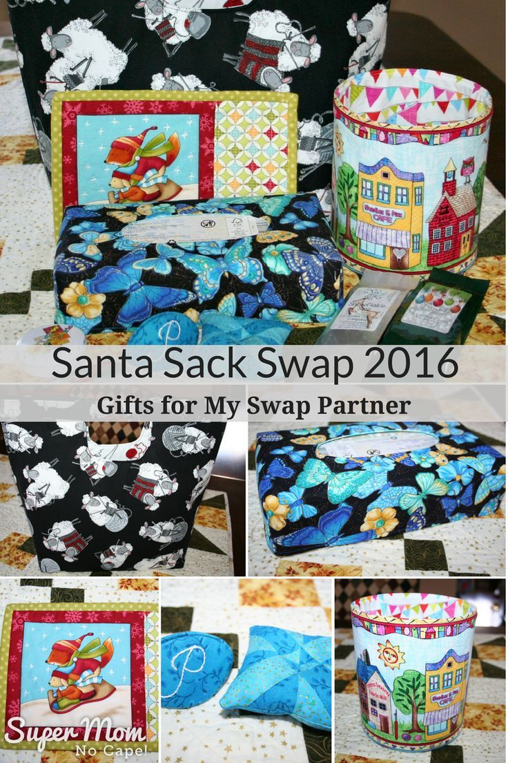 Santa Sack Swap 2016 - Click thru to check out the gifts Super Mom - No Cape made for her swap partner. via /susanflemming/