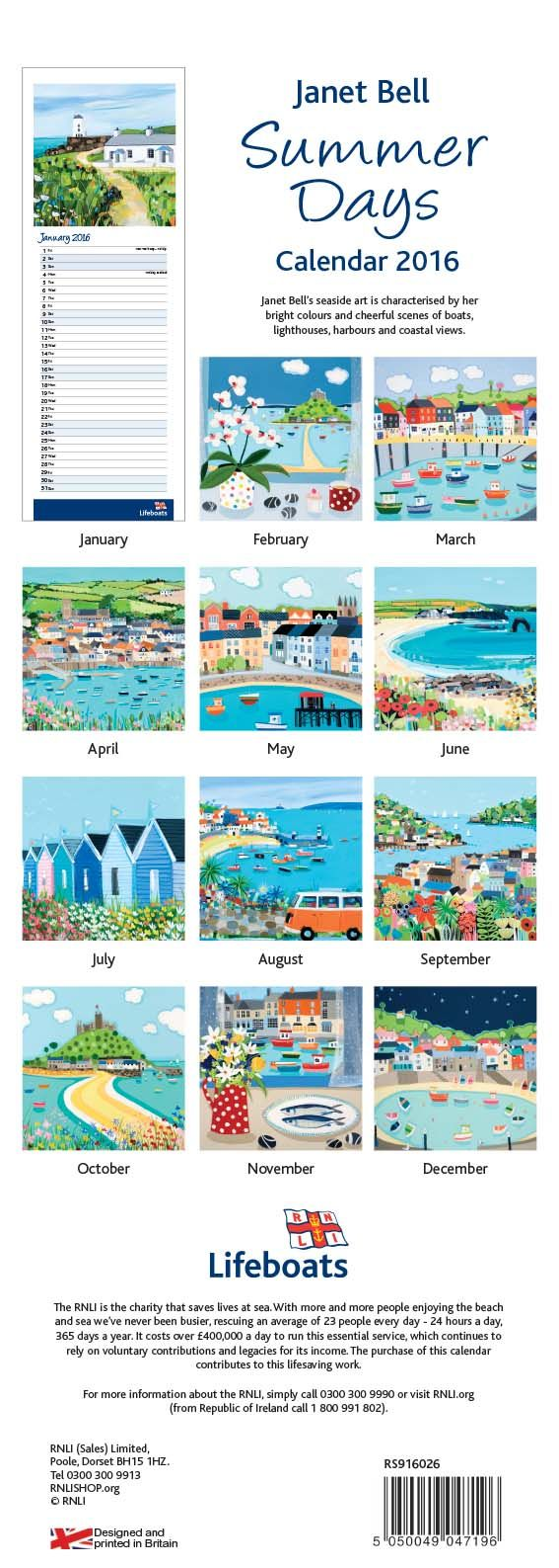 Summer Days Calendar 2016 - RNLI Christmas - Shop by Category - Calendars and Diaries UK