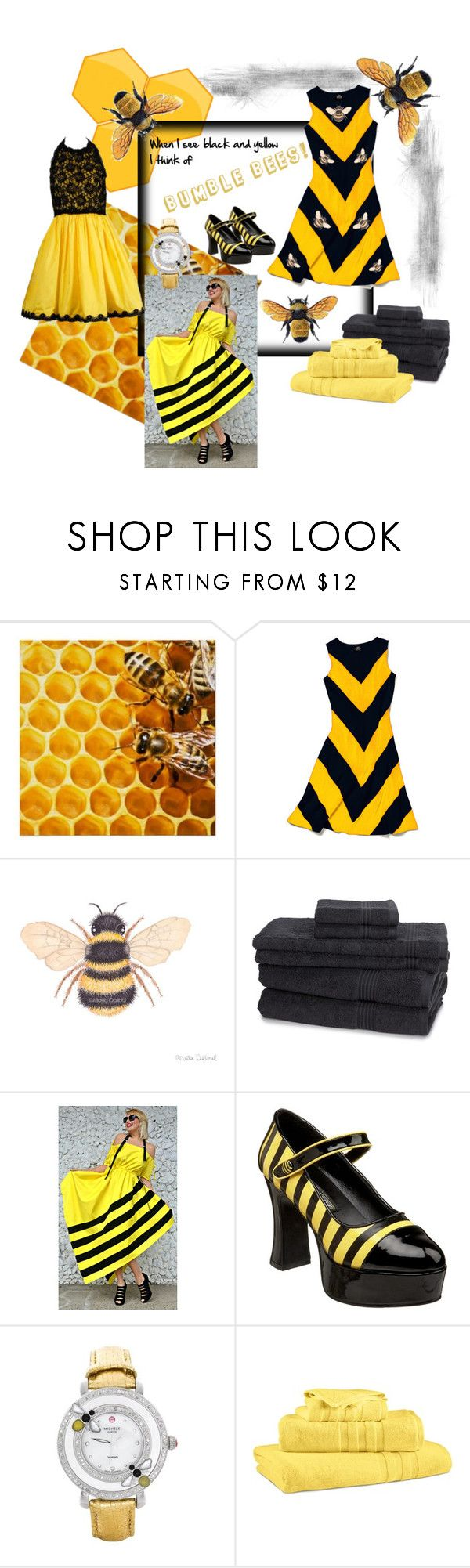 """Yellow=Bumble Bees!"" by october-cat-studios ❤ liked on Polyvore featuring Slater Zorn, Funtasma, Michele, Ralph Lauren and Bill Blass"