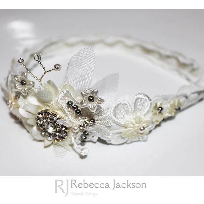 Flower Girl Headband, 'Matilda' Rebecca Jackson, Bespoke.  	   	New Collection: Beautiful lace is hand sewn around an ivory satin Tiara. A beautiful flower is hand beaded with stunning Swarovski Crystals and Pearls, with hand wired flowers creating stemmed flowers with trailing leaves. A