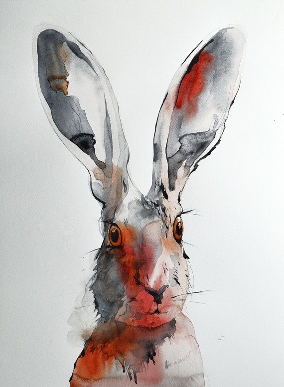 Hare original watercolor painting. One of a by AlisaAdamsoneArt
