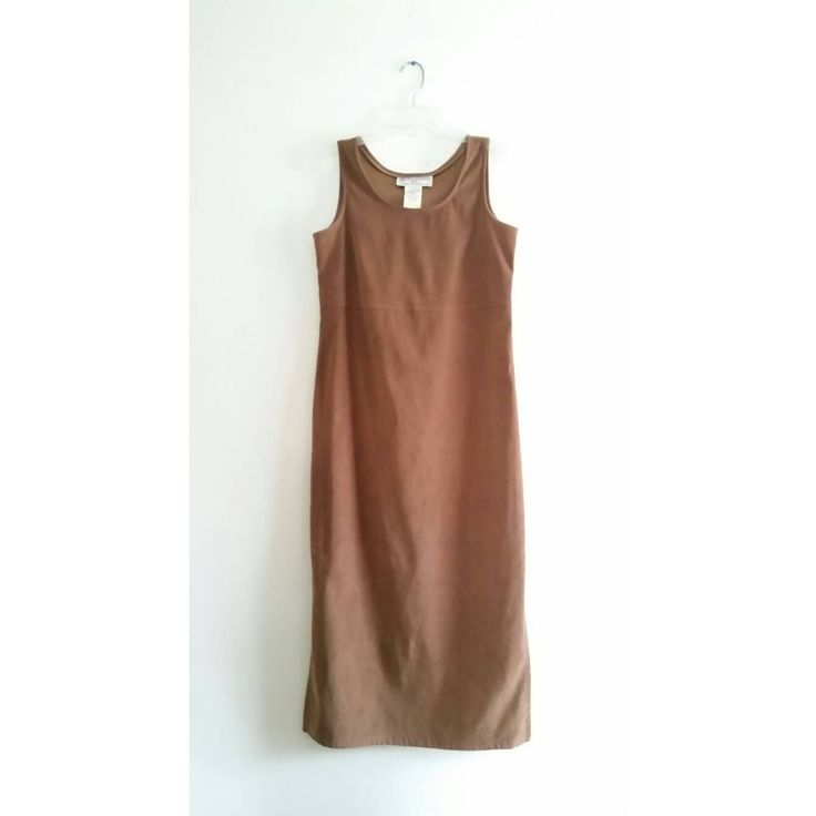 Vintage 1990s Jessica Howard Light Brown Faux Suede Side Split Solid Classic Sleeveless Long Dress Sz 10 Medium
