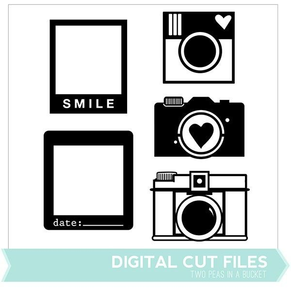 Cameras & Frames Digital Cut Files - Available in May only - Two Peas in a Bucket