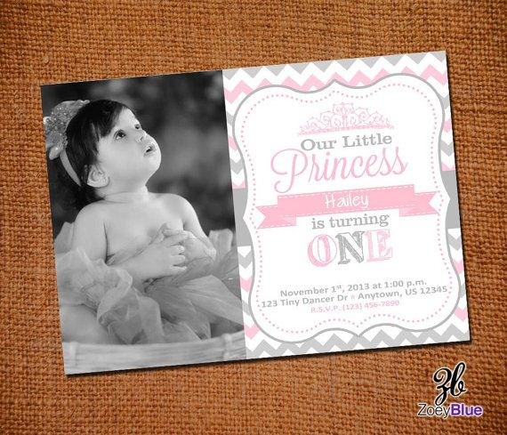 Little Princess Birthday Invitation with Picture Printable- 1st First Birthday- Grey Pink Zig Zag Chevron- Digital File on Etsy, $7.58 AUD