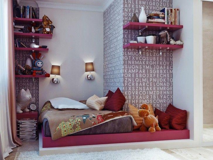 Bedroom, Pink Platform Bed Contemporary Teenage Girls Bedroom Blanket Pillows Dools Wall Lamps Alphabet Wallpaper Hot Pink Bookshelves Books Cream Shag Rug Wooden Floor Vase Clock And Curtain ~ Beautiful Teenage Room As Well As Possible