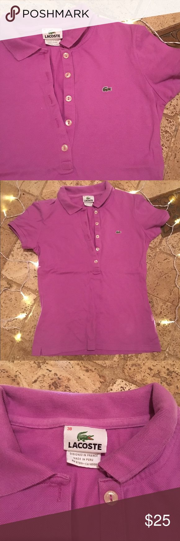 Lacoste fitted polo 👚 Lacoste purple polo shirt. In good condition. Gently used and cared for. Size 38. Fitted. Lacoste Tops