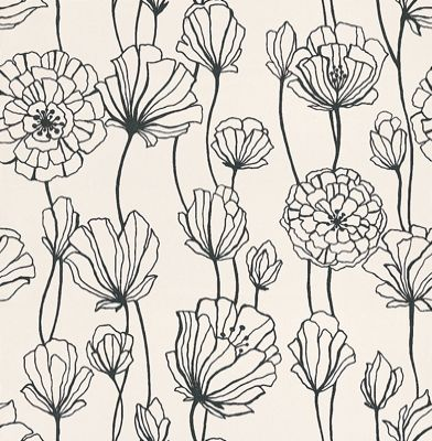 Black & White (BW28740) - Galerie Wallpapers - A contemporary stylized floral trail in contrasting black on white - other colours ways are available. Please request a sample for true colour match.
