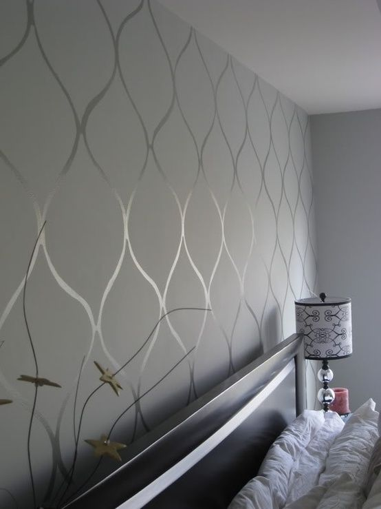 Stencil Your Walls For A Chic DIY Alternative To Paint Or Wallpaper |  Silver Wall Stencil