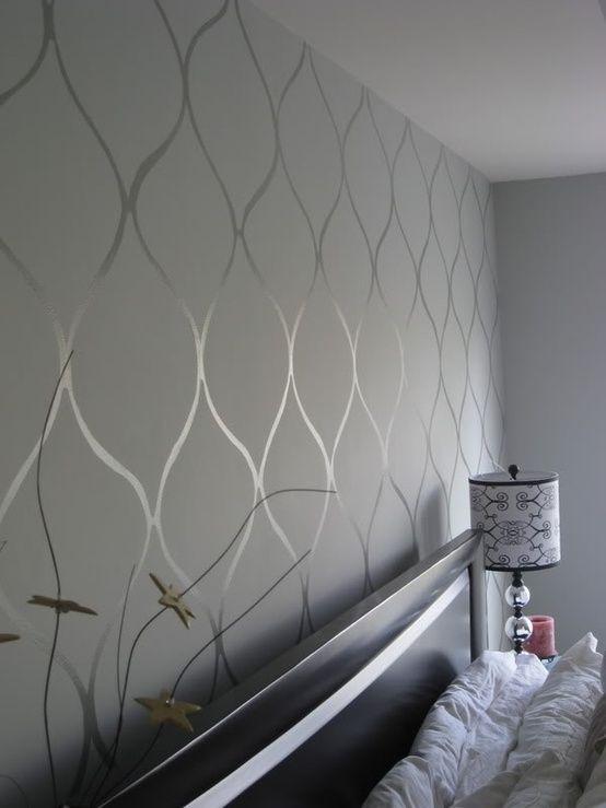 Silver wall stencil by dallasnorton dream house for Silver wallpaper for walls
