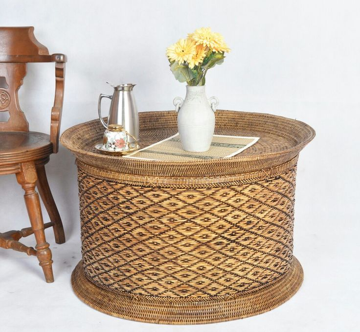 Hand Woven Round table in Antique Brown Finishes made by combination of rattan and bamboo