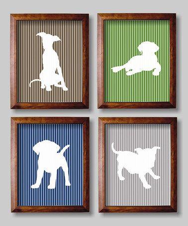 Look what I found on #zulily! Blue & Green Puppies Nursery Wall Art - Set of Four #zulilyfinds