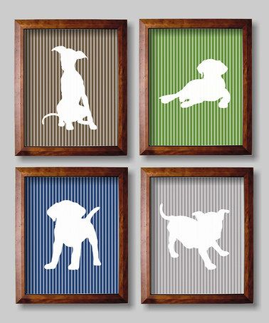 Look what I found on #zulily! Blue & Green Puppies Nursery Wall Art - Set of Four #zulilyfinds