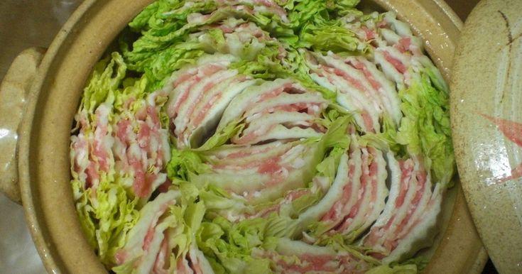 〜白菜と豚バラ肉のミルフィーユ鍋〜   ポン酢でサッパリ ごまだれでも、ゆず胡椒でアクセントつけても!!  ⇒シメは塩で味を整えてうどんを投入!梅干し、海苔でシンプルに!!