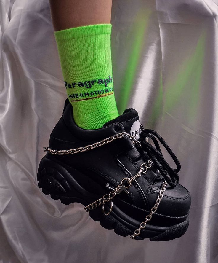 90's Style Buffalo Shoes with Chains and Neon Sock…