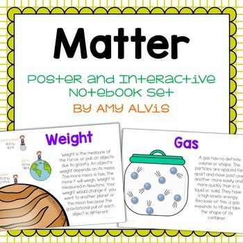 This poster and interactive notebook (INB) set covers matter, mass, weight, mixture, solution, suspension colloid, solid, liquid, gas, atom, proton, neutron, electron, and conservation of mass. You will receive 19 posters and 5 foldable interactive notebook (INB) pages for