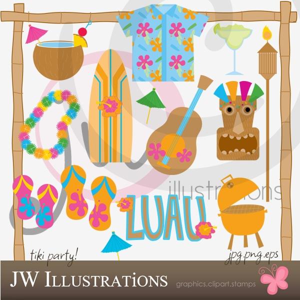 Free Summer Tiki Party Scrapbook Kit Clip Art